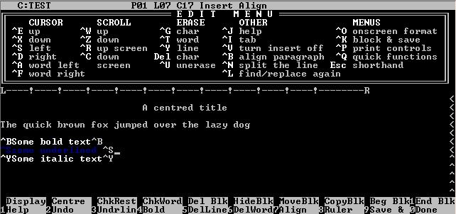 wordstar-screenshot