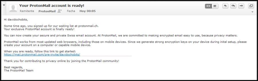 Mensaje de ProtonMail