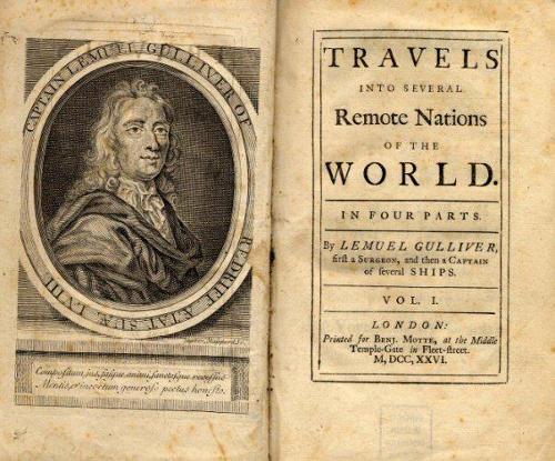 """Portada original de la obra """"Los viajes de Gulliver"""" Los derechos son de Dominio Público"""