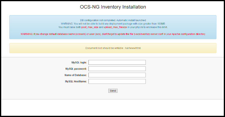 Configuración base de datos OCS Inventory