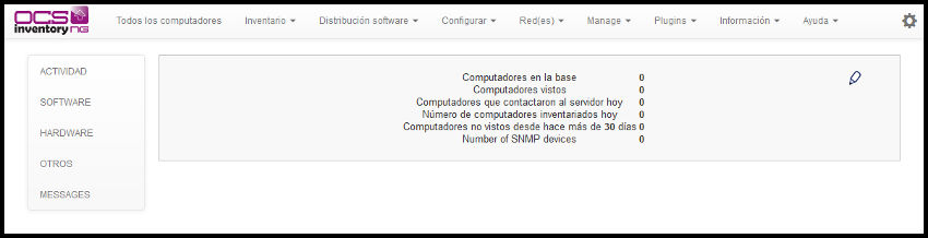 Interfaz web OCS Inventory sin avisos