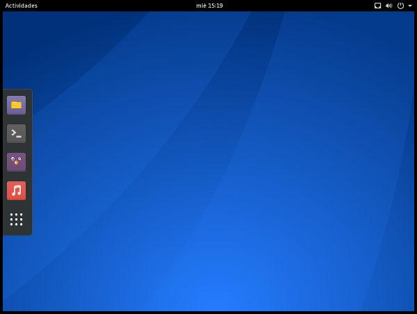 Aspecto escritorio GNOME en Antergos