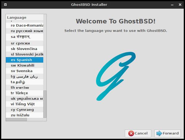Primera ventana instalador GhostBSD