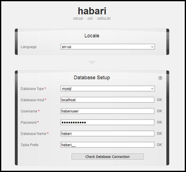 Configurar base de datos Habari