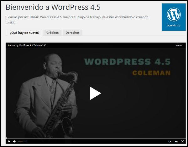 Página bienvenida WordpPress 4.5