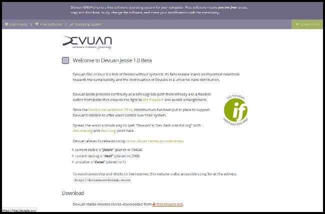 Web del proyecto Devuan