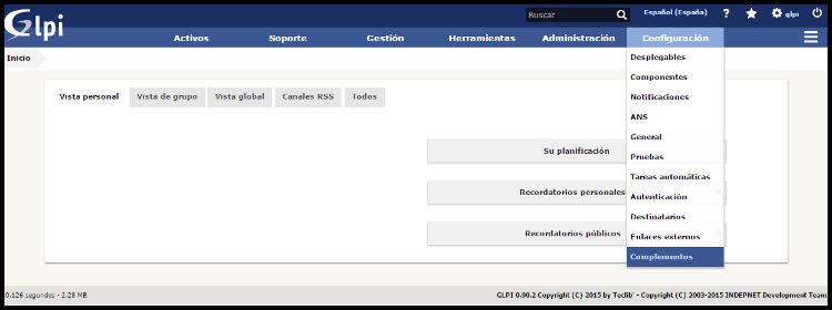 Interfaz web GLPI