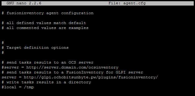 Configuración dirección servidor GLPI