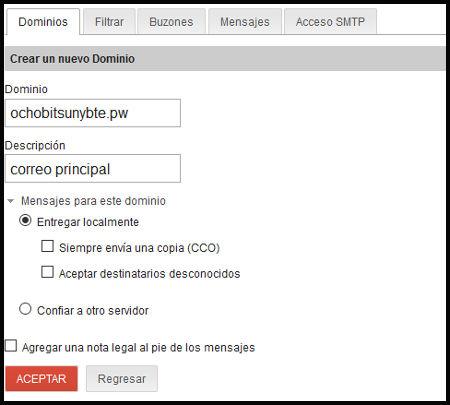 Configuración dominio para el correo