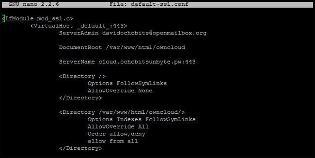 Primera parte default-ssl para ownCloud