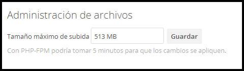 Tamaño máximo subida ficheros
