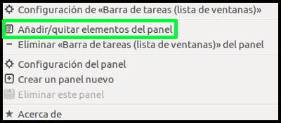 Selección añadir elementos al panel