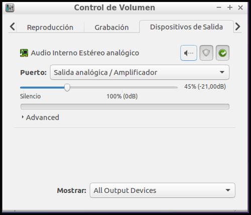 Interfaz pavucontrol