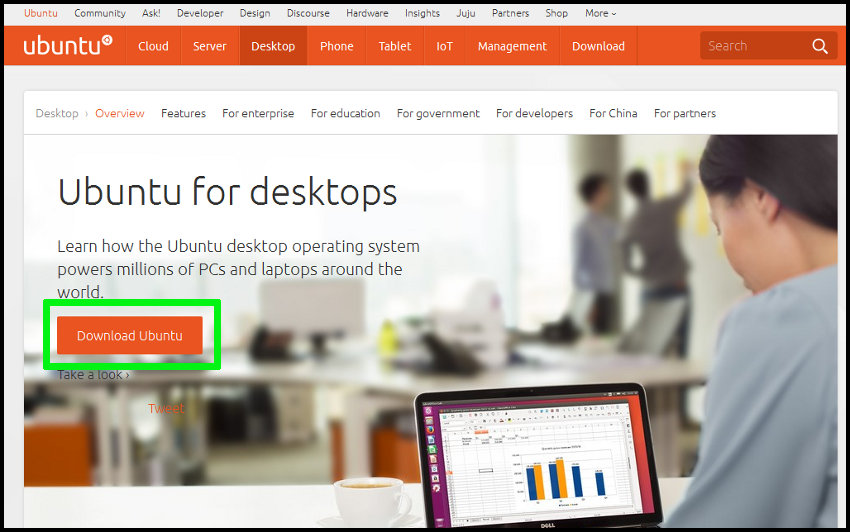Página web de Ubuntu
