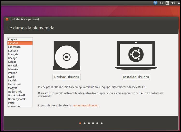 Inicio instalación Ubuntu