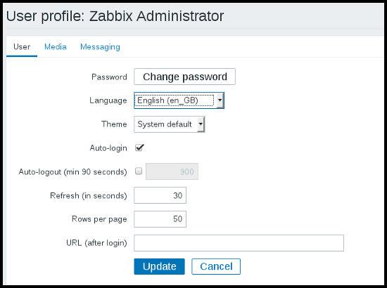 Interfaz de usuario en Zabbix
