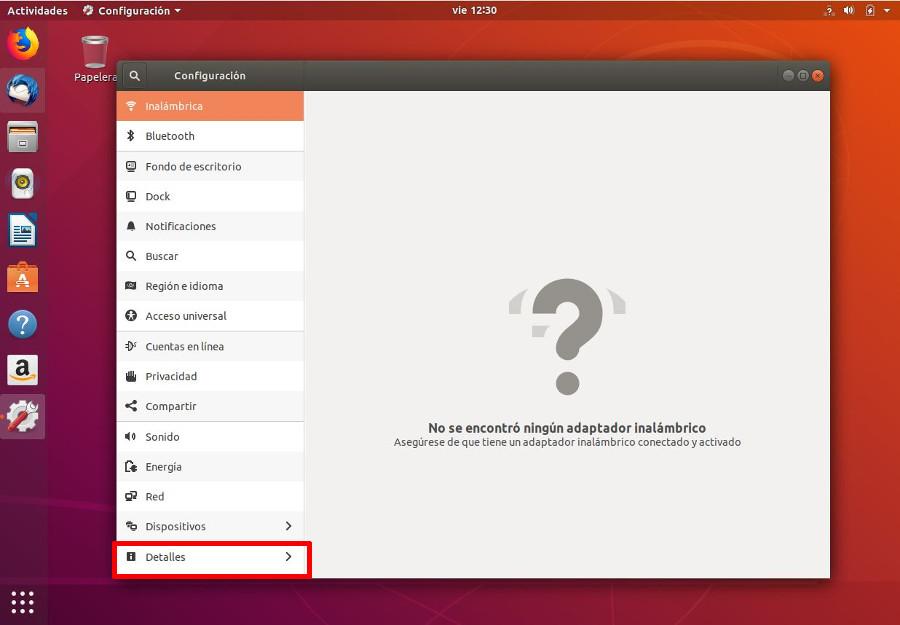 Opción detalles de configuración en Ubuntu